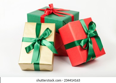 pile of christmas presents isolated