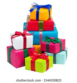 Pile of Christmas presents isolated in front of white background