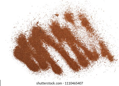pile cinnamon powder isolated on white background, with top view