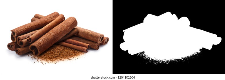 Pile of cinnamon sticks with ground cinnamon together. Clipping paths, shadow separated