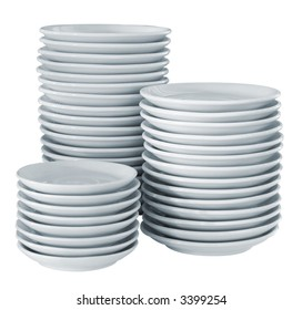 Pile clean side plates (with clipping path for easy background removing if needed)