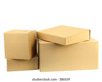 A pile of closed boxes with workpath