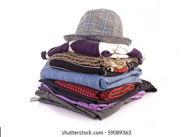 Pile of clothes isolated on white background