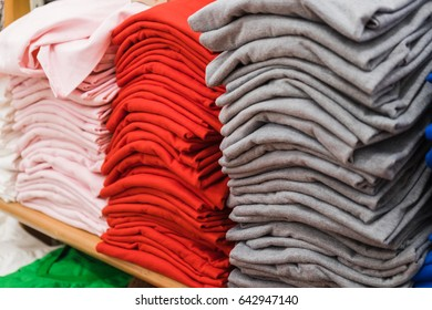 A pile of clothes in the mall