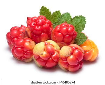 Pile of cloudberries (Rubus Chamaemorus) with leaves. Clipping paths, berries and shadow separated, infinite depth of field