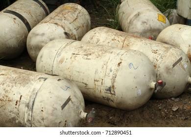 Pile of CNG NGV gas storage tank