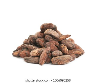 Pile of cocoa beans isolated over the white background