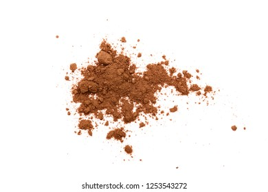 pile of cocoa powder isolated on white background. Top view. Flat lay