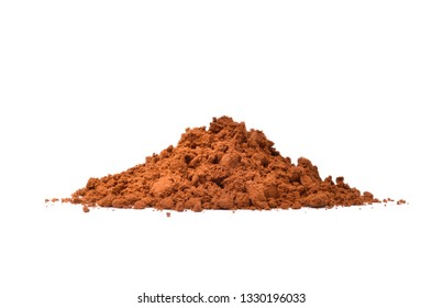 Pile of Cocoa powder isolated on white background.