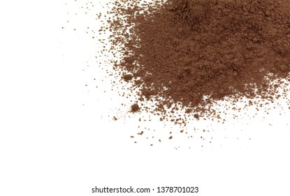 Pile cocoa powder isolated on white background.