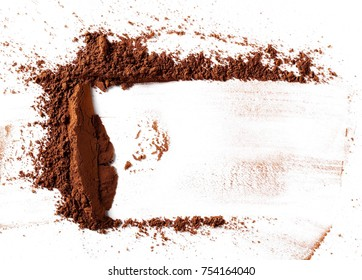 pile cocoa powder isolated on white background, top view