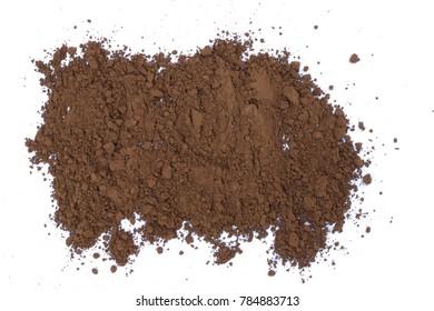 pile cocoa powder isolated on white background.