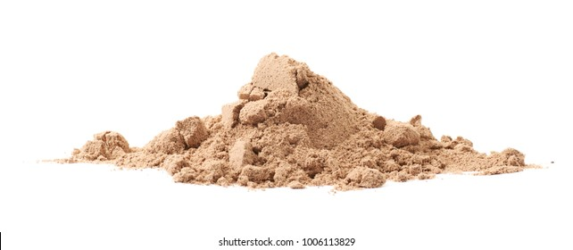 Pile of cocoa protein powder isolated over the white background