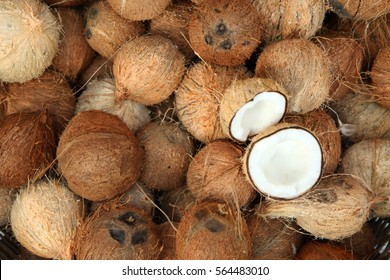 Pile of coconuts  in the food market of  India