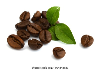 pile of coffee beans on white background