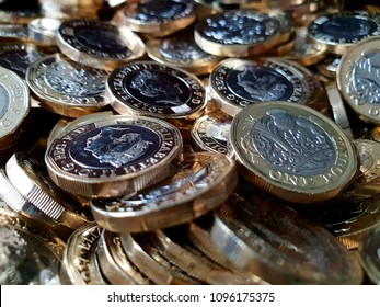 A pile of £1 coins.