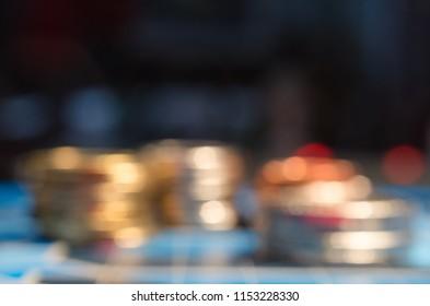 pile coins with blur focus.concept for Unstable economic conditions.economy concept.