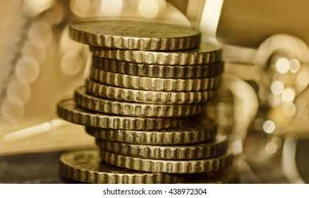 Pile of coins. Finance and Money concept