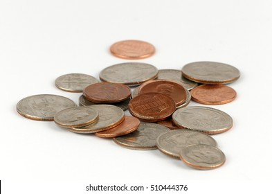 Pile of coins isolated