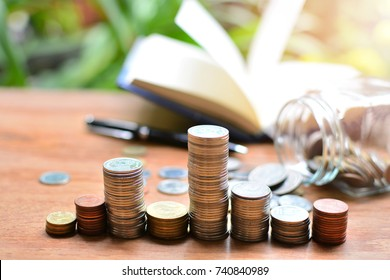pile coins money on table for concept investment mutual fund finance and education