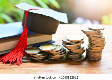 pile coins on table for concept investment education and scholarships