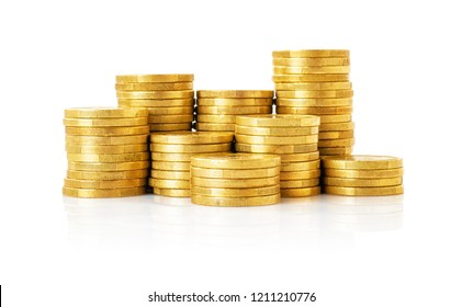 A pile of Coins on a white background