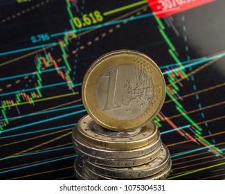 pile of coins one euro against the backdrop of a stock exchange chart