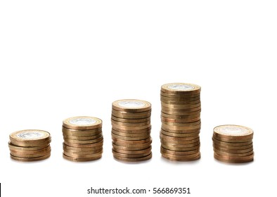 Pile of Coins with white background