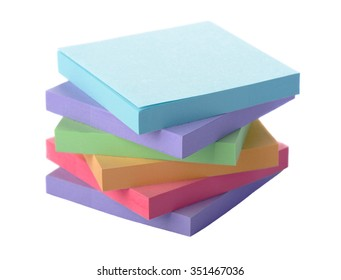 Pile colored block of post notes, closeup