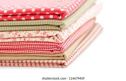 Pile of colored fabrics