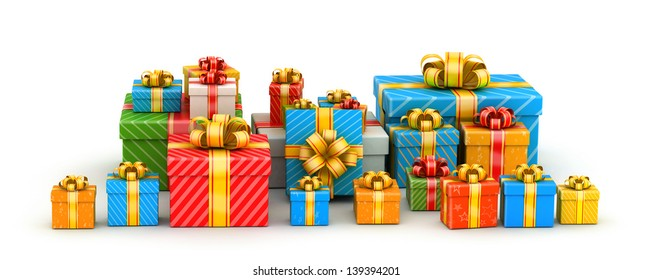 Pile of colored gift boxes with shiny ribbons in line