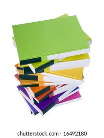 Pile of colorful books isolated on white