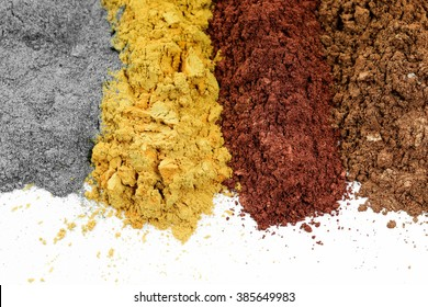 Pile of colorful effect pigments powder for coating