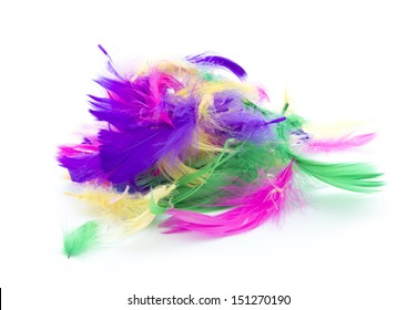 pile of colorful feathers isolated on white background