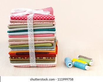 Pile of colorful folded textile
