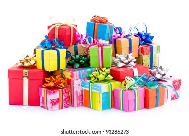 Pile of colorful gifts box  on white studio background