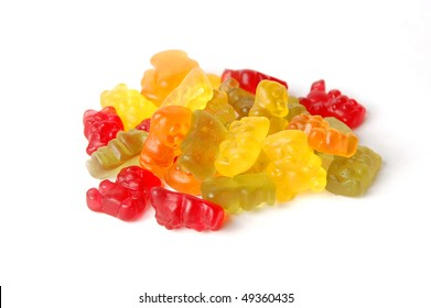 Pile of colorful gummy bears