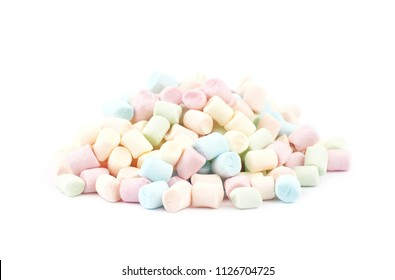 Pile of colorful mini marshmallows isolated over the white background