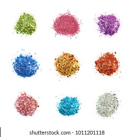 Pile of colorful sequin bits isolated over the white background, set of nine different foreshortenings