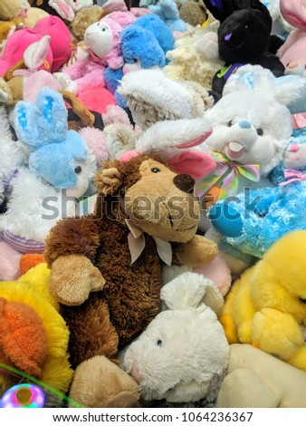 Pile Colorful Stuffed Animals Stock Photo Edit Now 1064236367