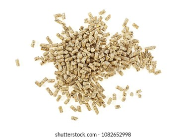 Pile of compound feed pellets isolated on a white background. Top view.