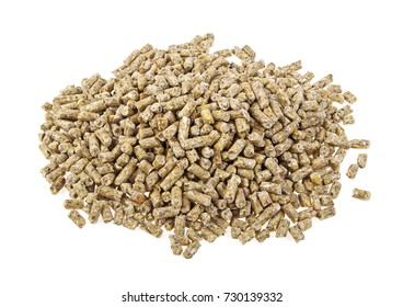 Pile of compound feed pellets isolated on a white background