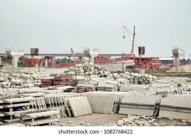 pile of concrete barrier
