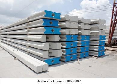pile concrete on site