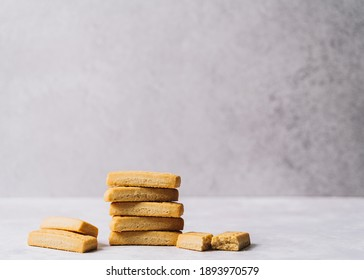 Pile of cookies, stack of shortbread biscuits