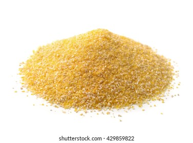 Pile of corn grits isolated on white