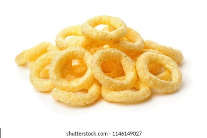 Pile of crispy onion rings isolated on white