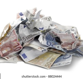 pile of crumbled euro banknotes in white back