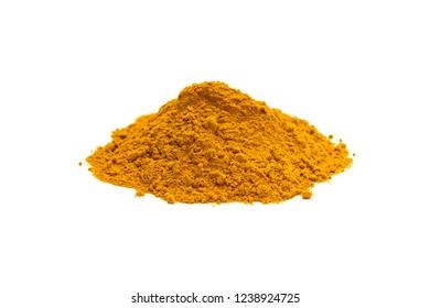 Pile of curcuma powder isolated on white background