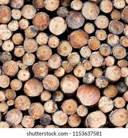 Pile of cut forestry logs repeating tileable background.seamless image repeats up, down, left and right